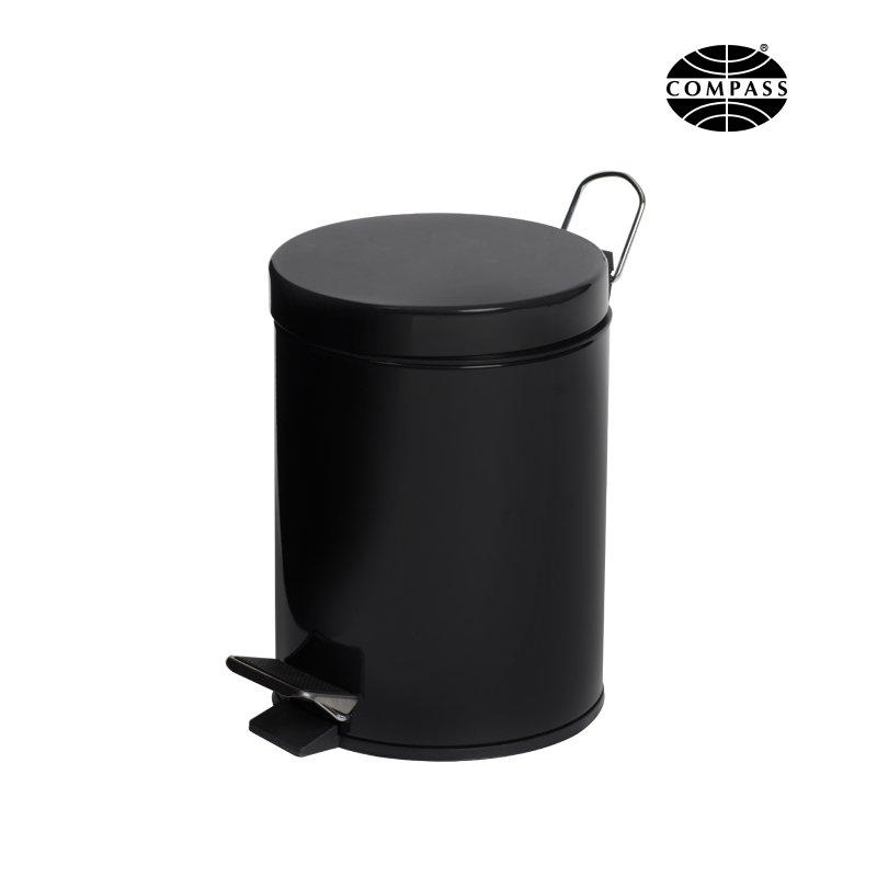Round Black Powder Coated Pedal Bin Black 5L