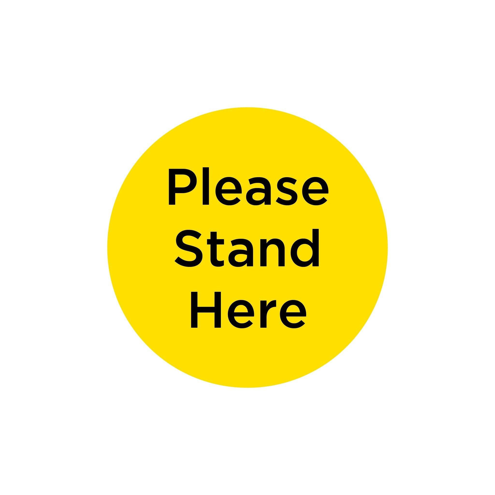 "Anti-Slip Floor Sticker 300mm ""Please Stand Here"" - Yellow/ Black"