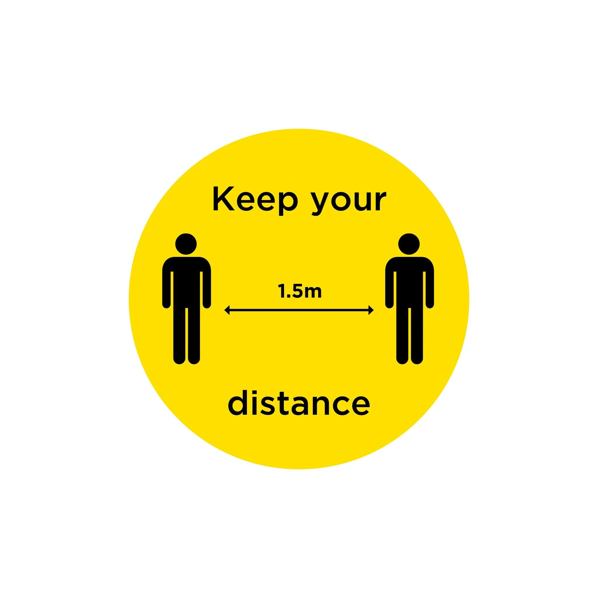 "Anti-Slip Floor Sticker 300mm ""Keep Your Distance"" - Yellow/ Black"