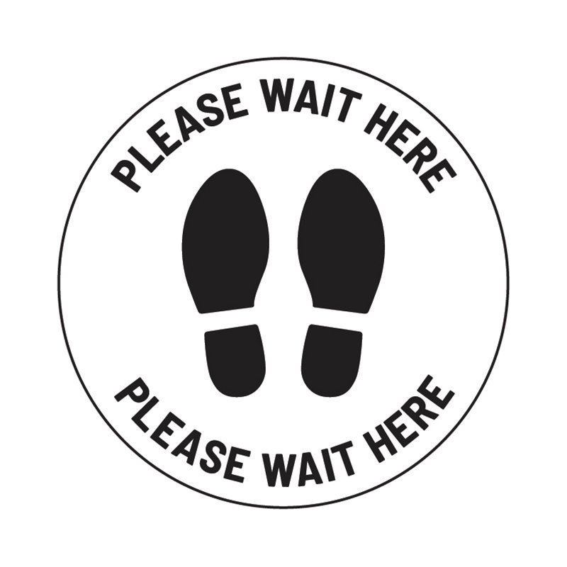 "Anti-Slip Floor Sticker 335mm ""Please Wait Here"" - White/ Black"