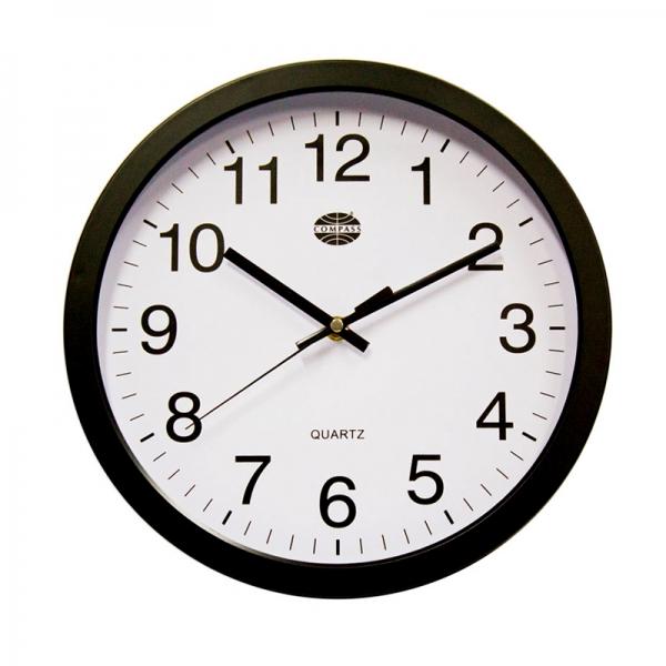Compass 30cm Black Wall Clock