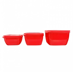 Connoisseur Set Of 3 Microwave Containers Red