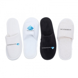 Embroidered logos on slippers