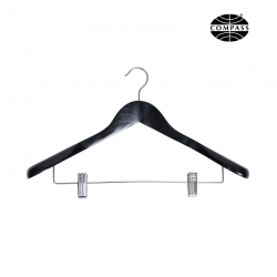 Suit Hanger Black Wood with Metal Clips