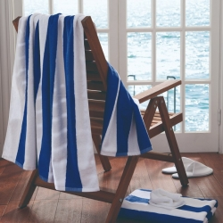 Compass Pool Towel Blue and White Stripes