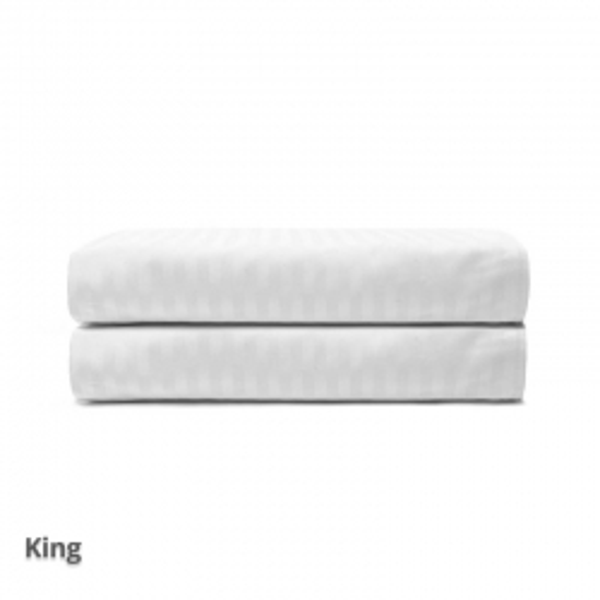 Quilt Cover Satin Stripe White King