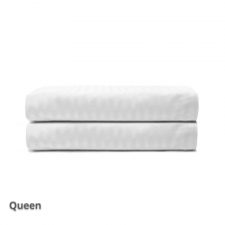 Quilt Cover Satin Stripe White Queen