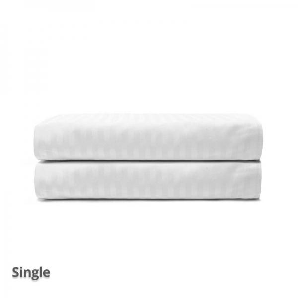 Quilt Cover Satin Stripe White Single