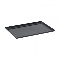 Medium Melamine Tray Raised Sides Black