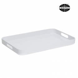 Large White Melamine Tray with Side Handles