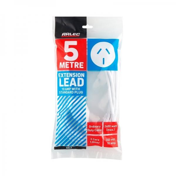 Arlec 5M White Extension Lead