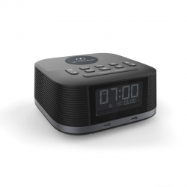 Nero Qi2 Wireless Clock Radio with two USB C Ports