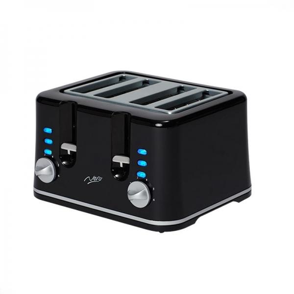 Nero 4 Slice Toaster Square Style Black