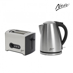 Nero Kettle 1.7 Litre & 2 Slice Toaster Pack Stainless Steel