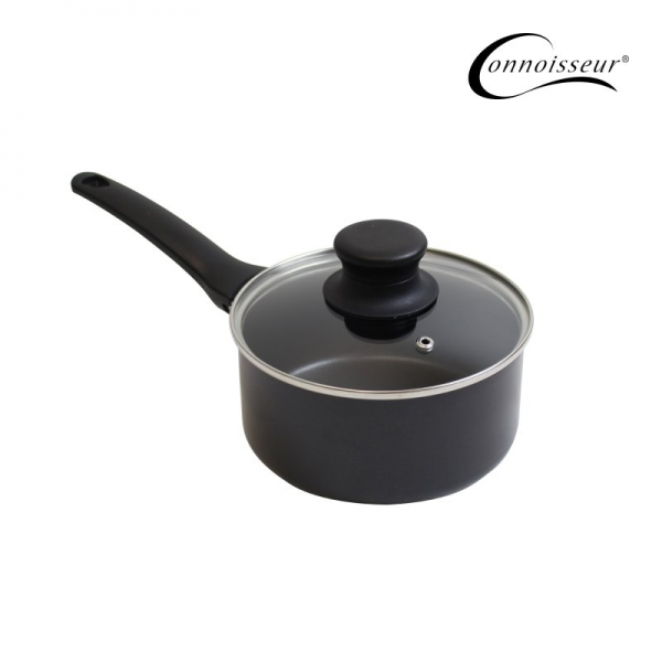 Connoisseur Pressed 16cm Non-stick Saucepan With Glass Lid - Click for more info