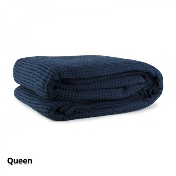 Cotton Waffle Blanket Navy Queen