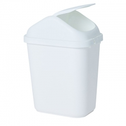 28L Rectangular White Swing Top Bin