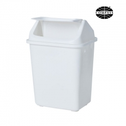 38L Rectangular White Swing Top Bin