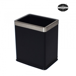 8L Rectangular Black Bin With Liner