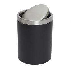 8L Round Black Swing Top Bin
