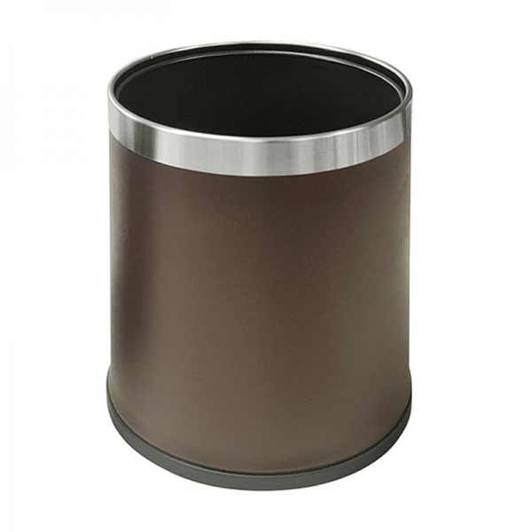 10L Round Leatherette Bin Brown