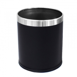 Round Leatherette Black Bin with Liner 10L