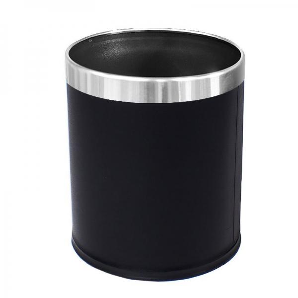 10L Round Leatherette Bin Black