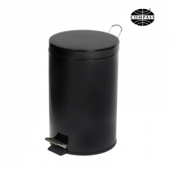 12L Powder Coated Pedal Bin Black