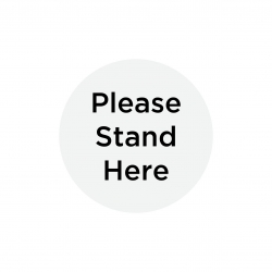 "Anti-Slip Floor Sticker 300mm ""Please Stand Here"" - Grey/ Black - Click for more info"