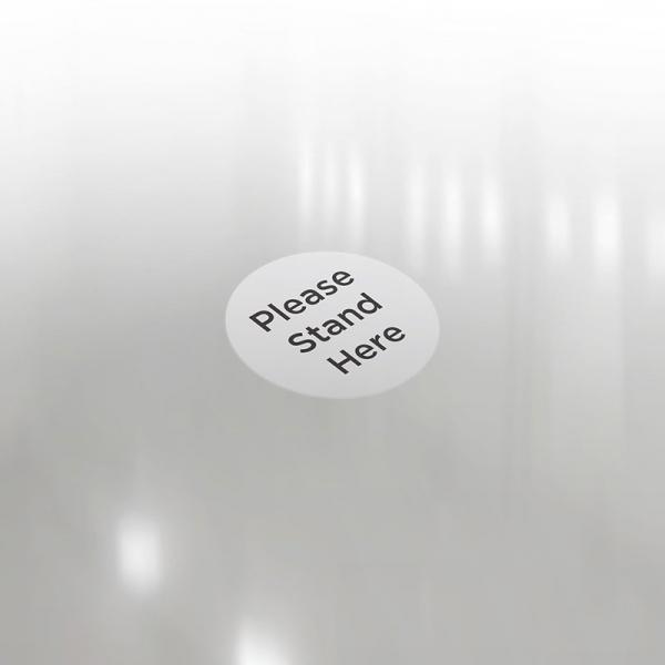 """Anti-Slip Floor Sticker 300mm """"Please Stand Here"""" - Grey/ Black"""