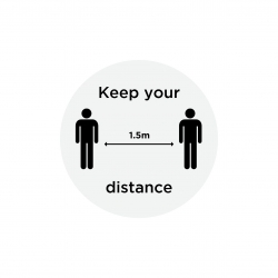 "Anti-Slip Floor Sticker 300mm ""Keep Your Distance"" - Grey/ Black"