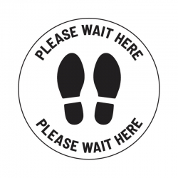 "Anti-Slip Floor Sticker 335mm ""Please Wait Here"" - White/ Black"