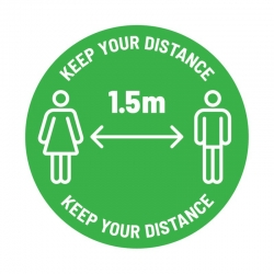 "Anti-Slip Floor Sticker 335mm ""Keep 1.5m Distance"" White/ Green - Click for more info"